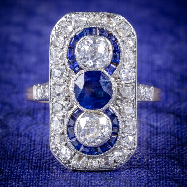 Art Deco Sapphire Diamond Cluster Ring 18ct Gold Circa 1920 COVER
