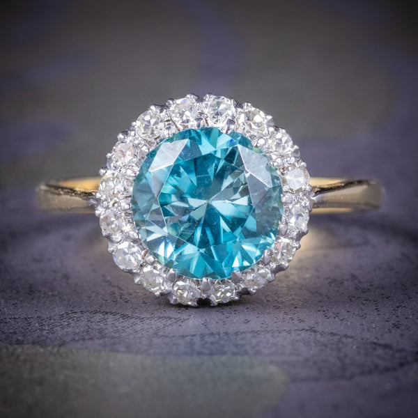 Antique Edwardian Blue Zircon Ring 18ct Gold Platinum Circa 1910 COVER