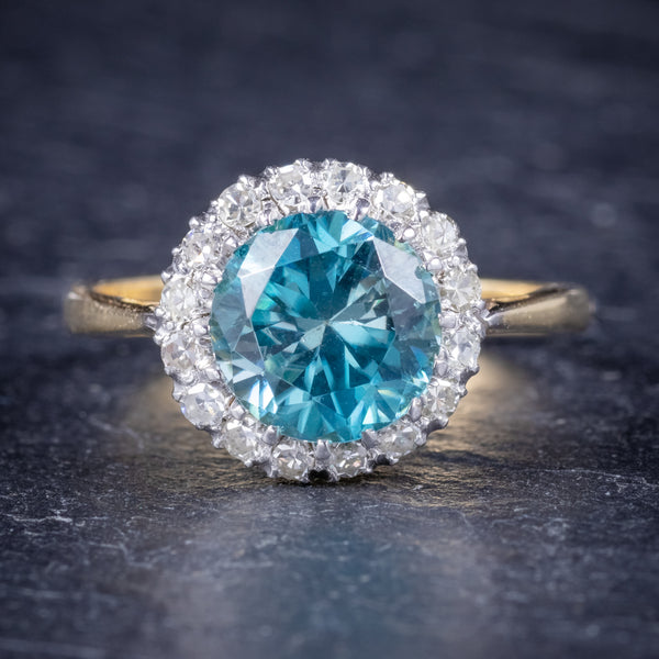 Antique Edwardian Blue Zircon Ring 18ct Gold Platinum Circa 1910 FRONT