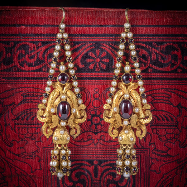 Antique Georgian Garnet Pearl Drop Earrings 18ct Gold Circa 1800 COVER