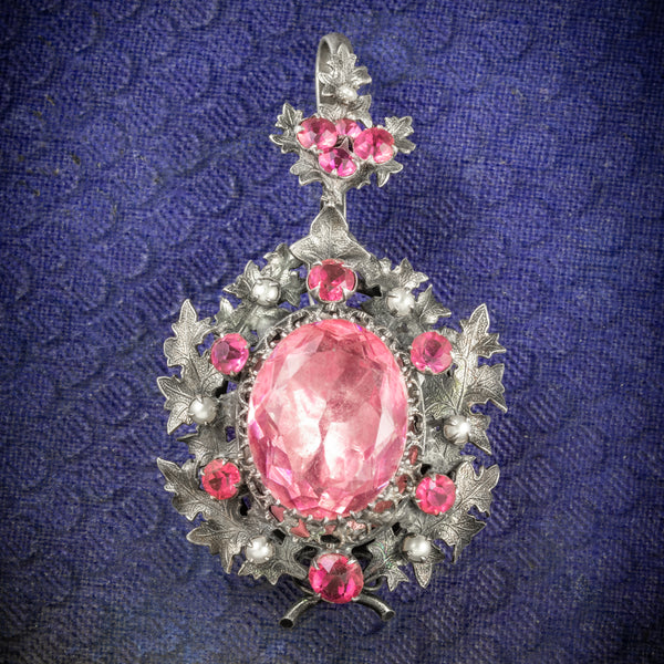 Antique Georgian Pendant Locket Pink Paste Silver Circa 1800 COVER