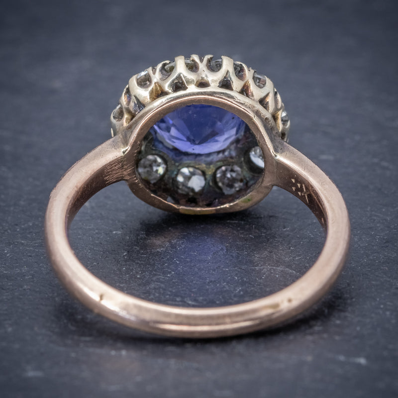 Antique Victorian Ceylon Sapphire Diamond Ring 18ct Gold Circa 1900 BACK