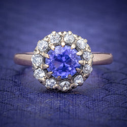 Antique Victorian Ceylon Sapphire Diamond Ring 18ct Gold Circa 1900 COVER