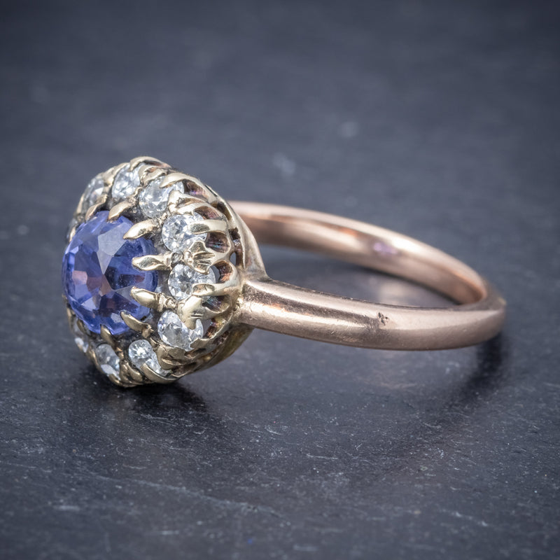 Antique Victorian Ceylon Sapphire Diamond Ring 18ct Gold Circa 1900 SIDE