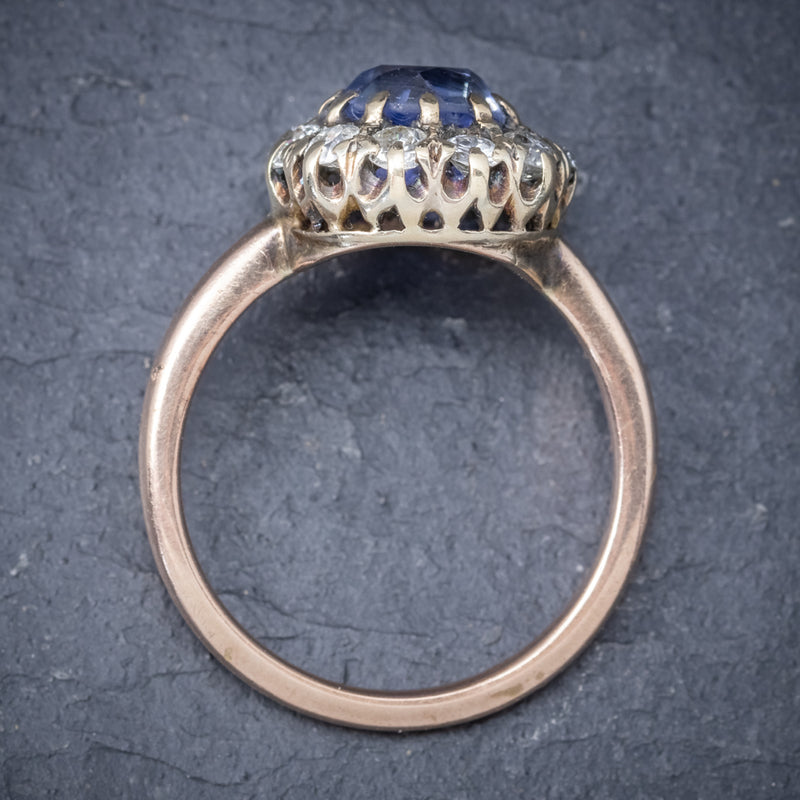 Antique Victorian Ceylon Sapphire Diamond Ring 18ct Gold Circa 1900 TOP