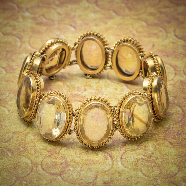 ANTIQUE VICTORIAN CITRINE BRACELET GOLD GILT ON SILVER CIRCA 1900 COVER