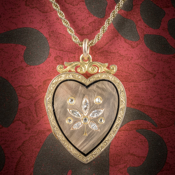 Antique Victorian Diamond Heart Locket Necklace 15ct Gold Circa 1880 cover