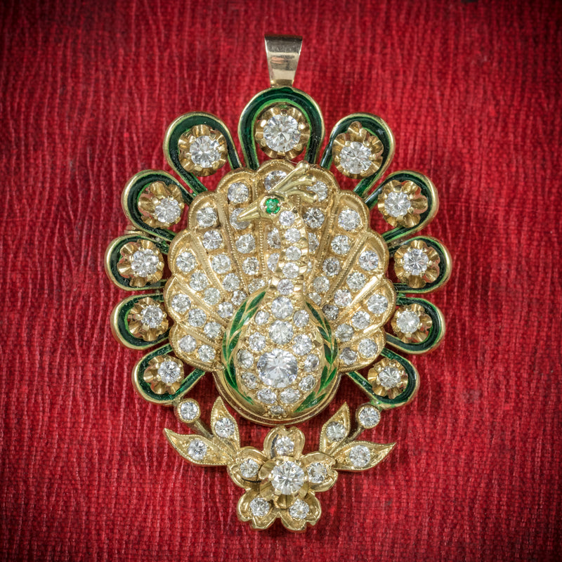 Antique Victorian Diamond Peacock brooch 18ct Gold Circa 1900 cover