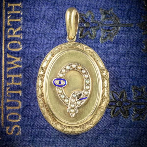 Antique Victorian Gold Locket Pearl Buckle 15ct Gold Circa 1900 COVER