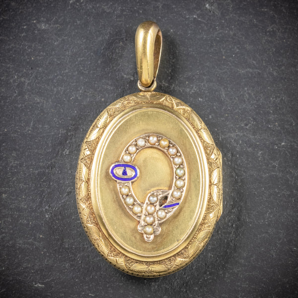 Antique Victorian Gold Locket Pearl Buckle 15ct Gold Circa 1900 FRONT