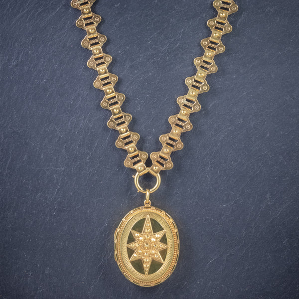 Antique Victorian Locket Collar 18ct Gold On Silver Necklace Dated 1883 FRONT