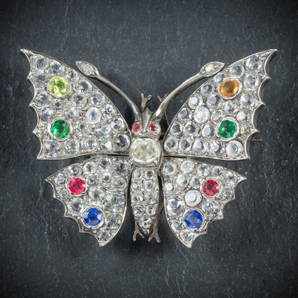 Antique Victorian Paste Butterfly Brooch Silver Circa 1900 FRONT