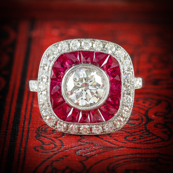 DIAMOND RUBY RING 18CT FRENCH CUT RUBIES 2.50CT COVER