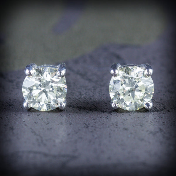 DIAMOND STUD EARRINGS 18CT GOLD 1.20CT DIAMOND COVER