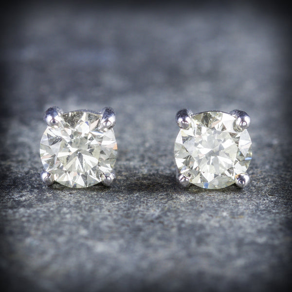DIAMOND STUD EARRINGS 18CT GOLD 1.20CT DIAMOND FRONT