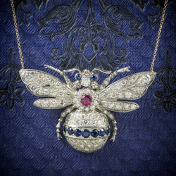 Diamond Bumble Bee Pendant Necklace Sapphire Ruby 18ct Gold cover