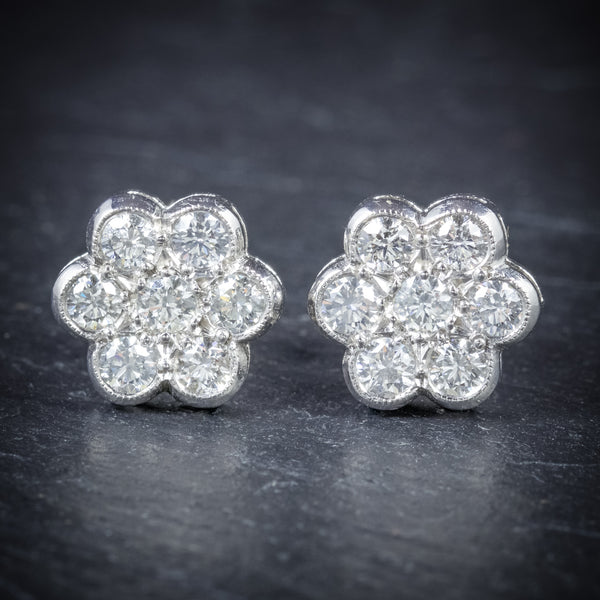 Diamond Cluster Earrings 18ct White Gold 1.40ct Diamonds FRONT