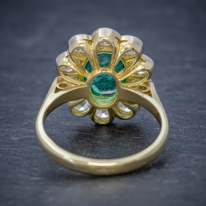 EMERALD DIAMOND CLUSTER RING 18CT GOLD 1.80CT EMERALD BACK