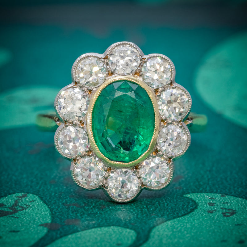 EMERALD DIAMOND CLUSTER RING 18CT GOLD 1.80CT EMERALD COVER