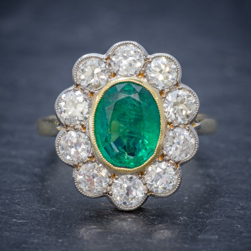 EMERALD DIAMOND CLUSTER RING 18CT GOLD 1.80CT EMERALD FRONT