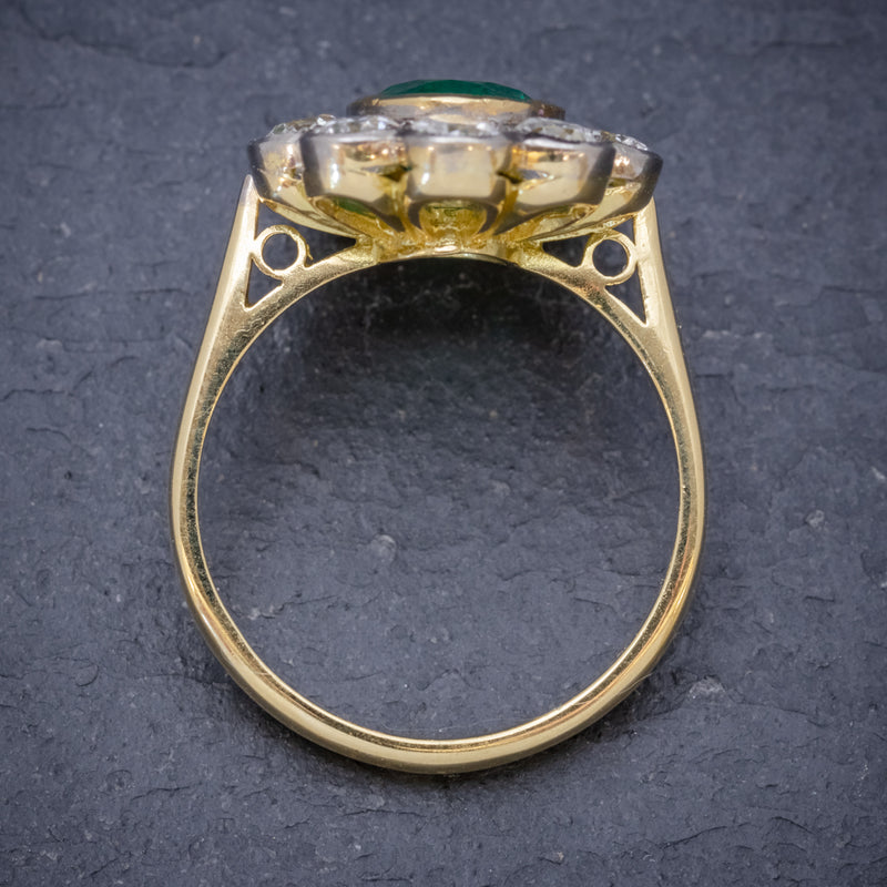 EMERALD DIAMOND CLUSTER RING 18CT GOLD 1.80CT EMERALD TOP