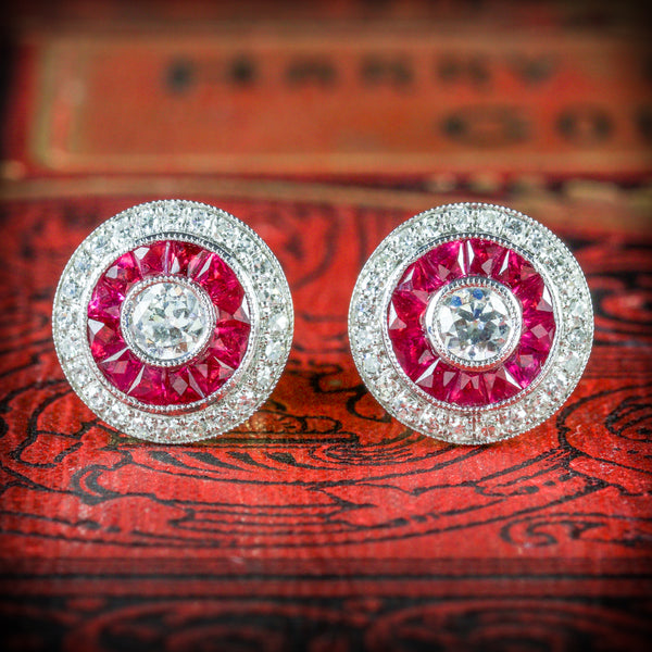 FRENCH CUT RUBY DIAMOND EARRINGS 18CT GOLD cover
