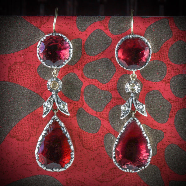 GEORGIAN FLAT CUT GARNET DIAMOND DROP EARRINGS 18CT GOLD SILVER COVER