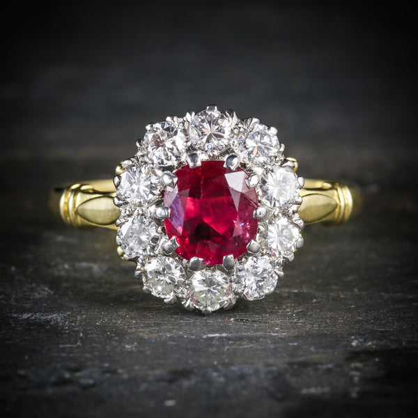 RUBY DIAMOND CLUSTER RING 18CT GOLD ENGAGEMENT RING FRONT
