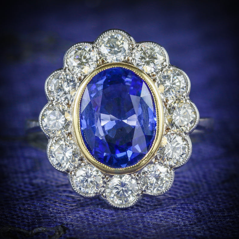 SAPPHIRE DIAMOND CLUSTER RING 18CT GOLD 3.20CT SAPPHIRE 1.50CT DIAMOND COVER