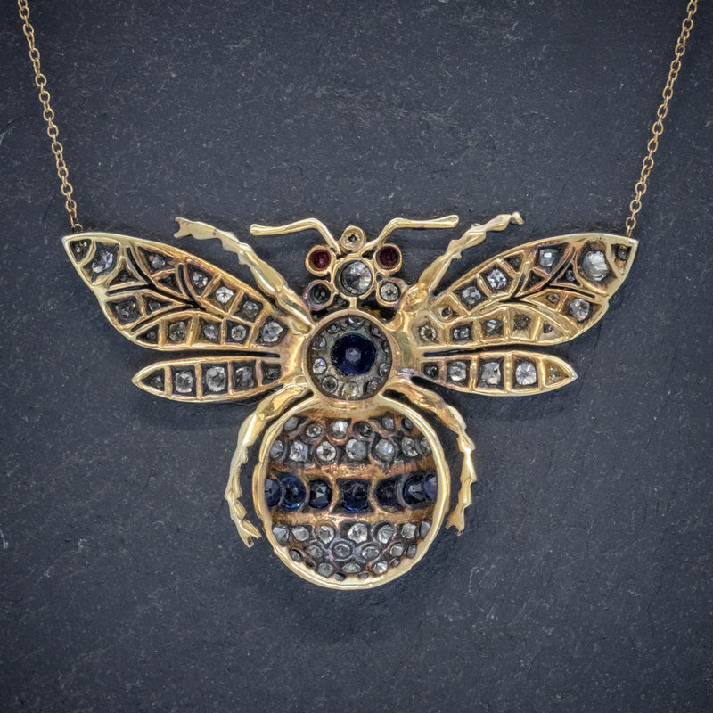 SAPPHIRE DIAMOND RUBY BEE PENDANT NECKLACE SILVER 18CT GOLD back