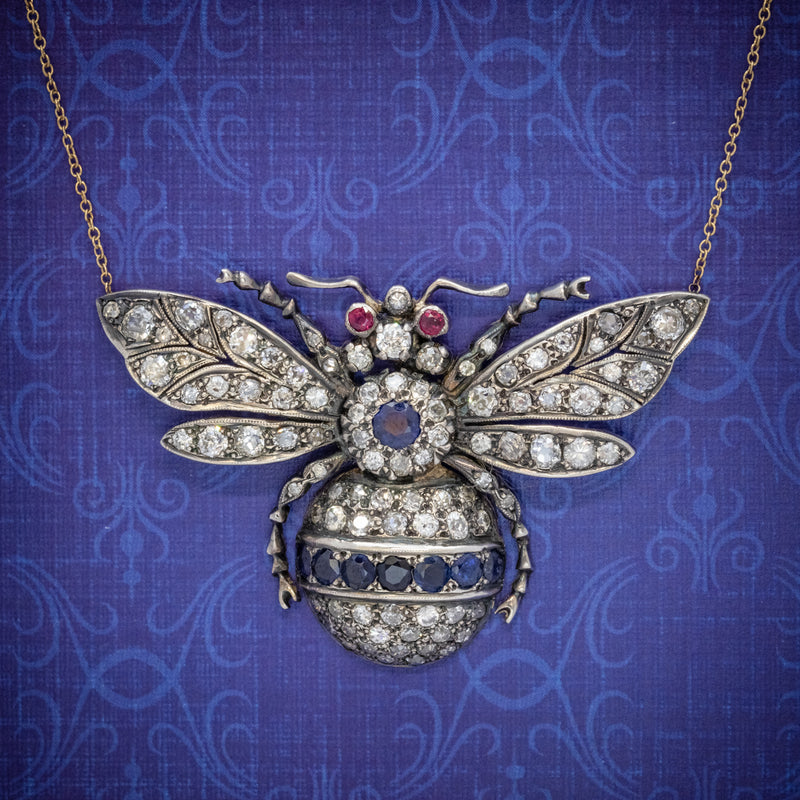 SAPPHIRE DIAMOND RUBY BEE PENDANT NECKLACE SILVER 18CT GOLD cover