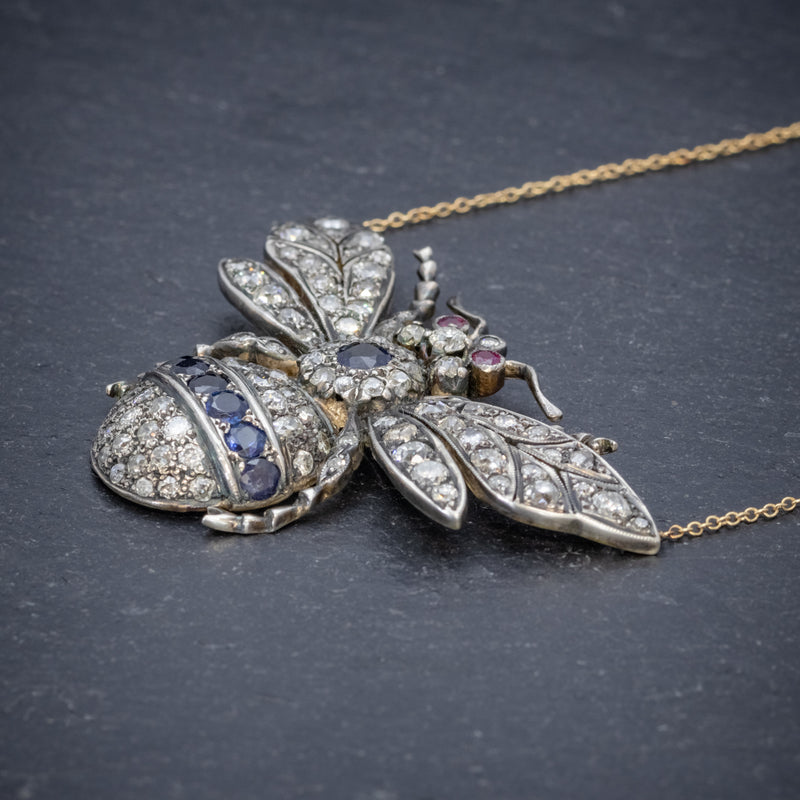 SAPPHIRE DIAMOND RUBY BEE PENDANT NECKLACE SILVER 18CT GOLD side