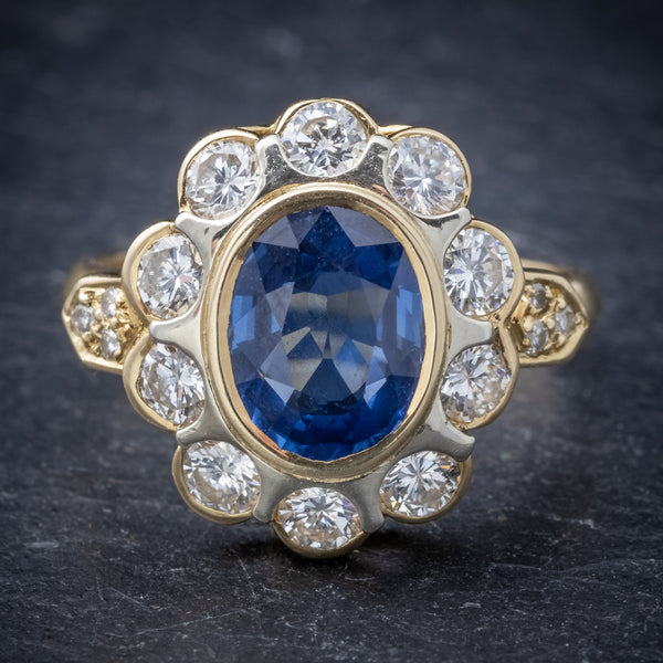 Vintage French Sapphire Diamond Cluster Ring 18ct Gold 3.80ct Sapphire FRONT