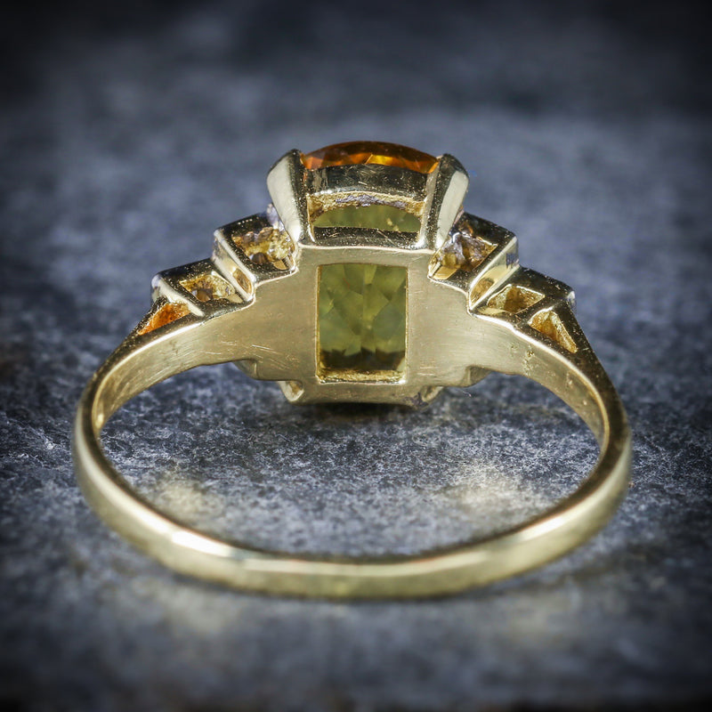 YELLOW BERYL AND DIAMOND TRILOGY RING 18CT GOLD ENGAGEMENT BACK