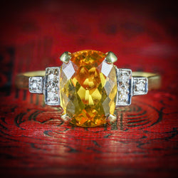 YELLOW BERYL AND DIAMOND TRILOGY RING 18CT GOLD ENGAGEMENT COVER