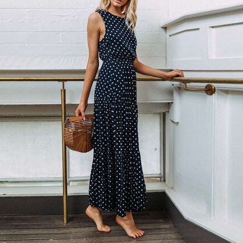 Round Neck Polka Dots Sleeveless Maxi Dress
