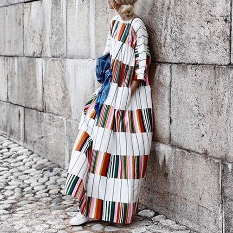 Round Neck Half Sleeve Color Block Maxi Dress