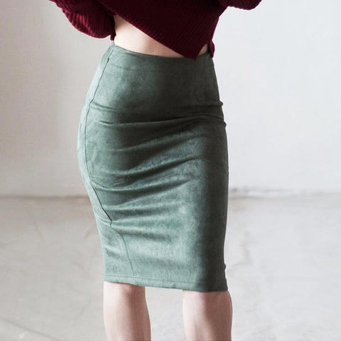 Fashion High-Waist Suede Slit Skirt