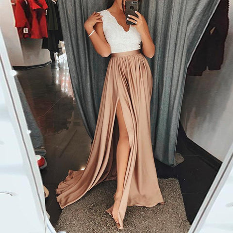 Sexy Solid Color Sleeveless V-Neck Dress