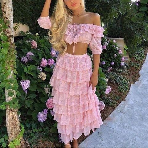 Cute  Off-Shoulder Pure Color Ruffled Hem  Suit