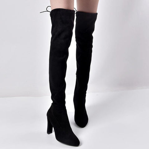 European and American pointed thick with side zipper over the knee boots elastic female boots
