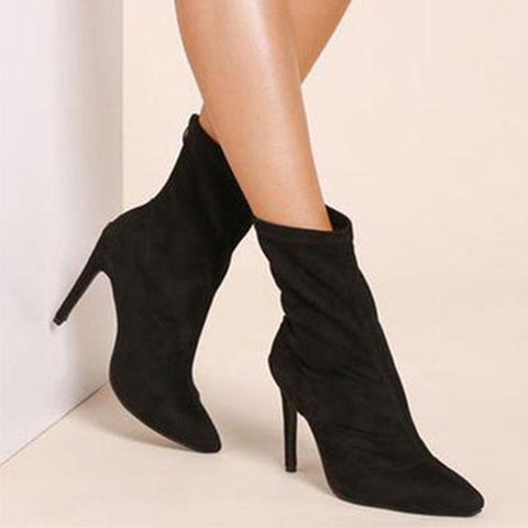 Pointed Sexy   High Heel Suede Women's Booties