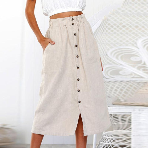 Decorative  Buttons  Plain  Casual  Skirts