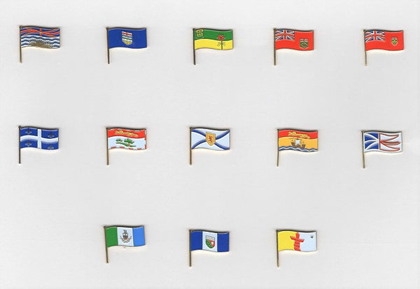 Set of 13 Canadian Province and Territory Flag Pins
