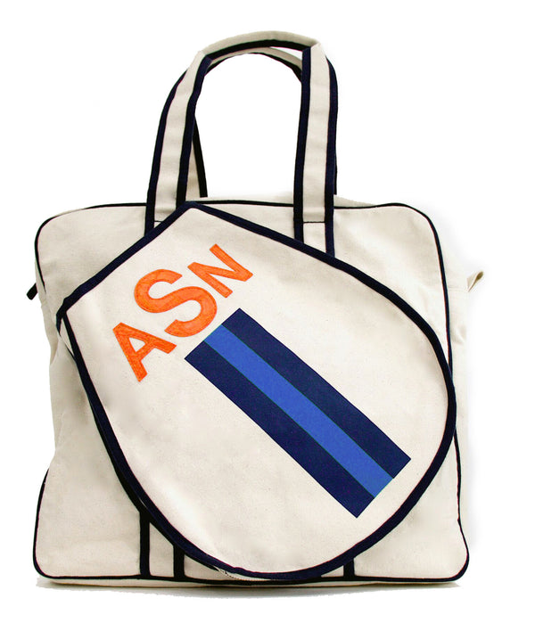 TENNIS BAG - NAVY/BLUE/NAVY RACING STRIPE WITH ORANGE ALLIGATOR MONOGRAM