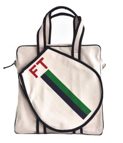 TENNIS BAG - NAVY/GREEN STRIPE WITH RED ALLIGATOR MONOGRAM