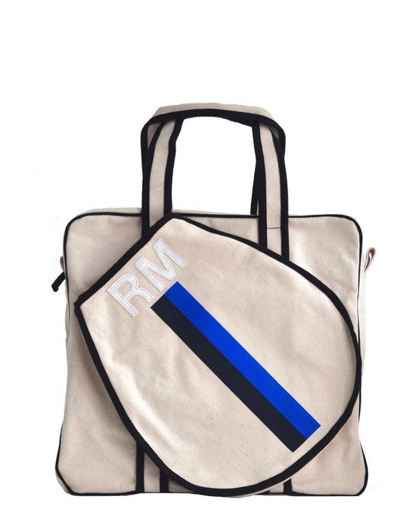 TENNIS BAG - NAVY/BLUE STRIPE WITH WHITE ALLIGATOR MONOGRAM