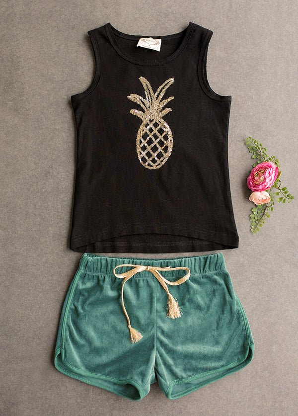 *NEW* Stevie Short Set in Black and Teal
