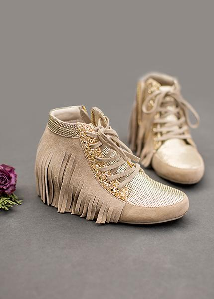 Felicity Fringe Sneakers in Gold