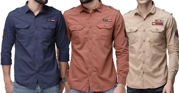 Combo of 3 Fashionable Style Slim Fit Shirts